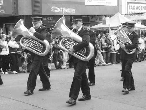 Tuba players perform during the Blacktown City Parade.