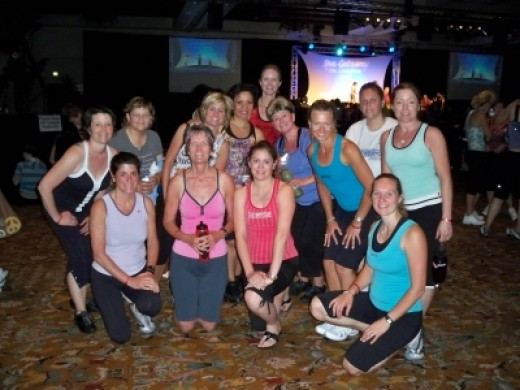 Our sweaty group poses after class.