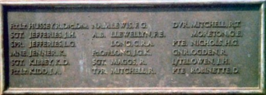 Some names on war memorial, including Kenneth Jenner, Page Park, Staple Hill, Bristol.