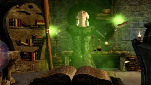 The Sims Medieval witch screenshot.