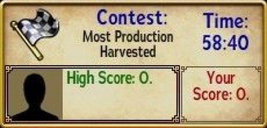 A contest for most Production harvested is announced.