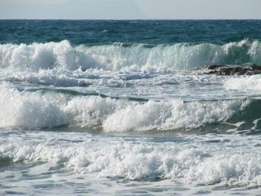 Crashing waves of the Mediterranean Sea.