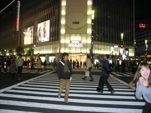 I'm very impressed that cars stop at zebra crossings in Tokyo.