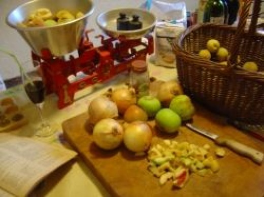 Ingredients for Peach and Apple Chutney