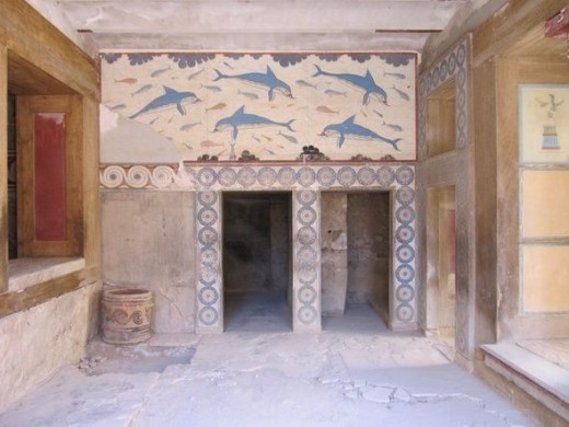 Frescoes in the palace of Knossos.
