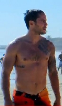 Screen cap for the right side tattoo (I think it may be his No regrets tattoo in Swahili)