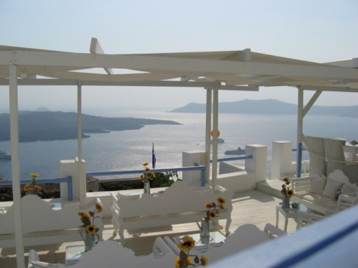 My favorite view from a mountain top cafe in Santorini
