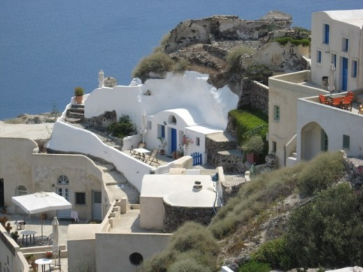 A home built into the mountain side, again in Santorini