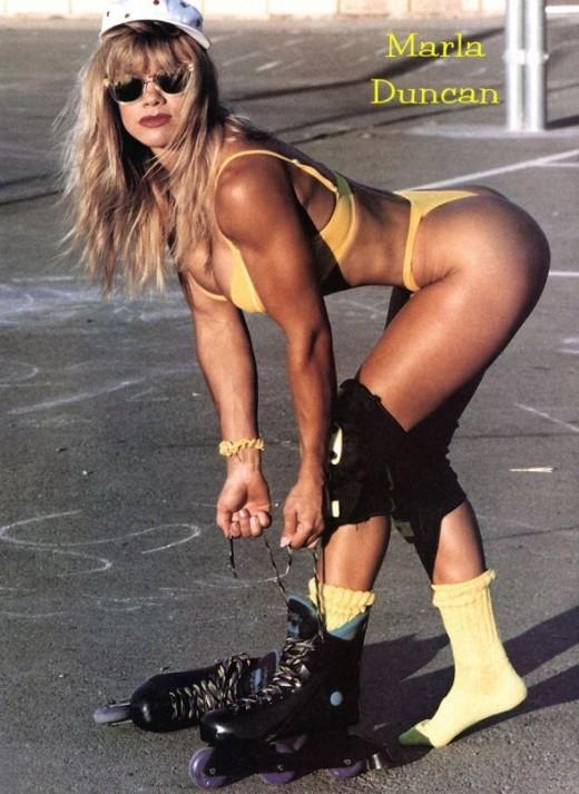 Marla Duncan rollerblading