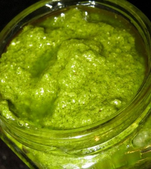 Photo homemade blender pesto sauce © 2013 Lynda Makara
