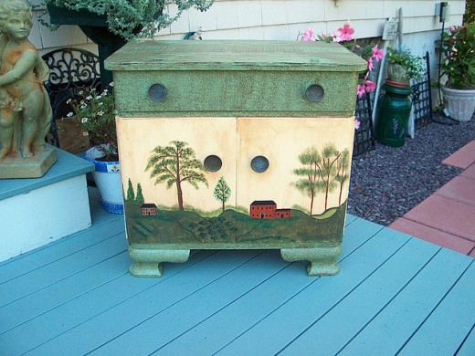 Rustic commode by Meg Lessard, on Flickr