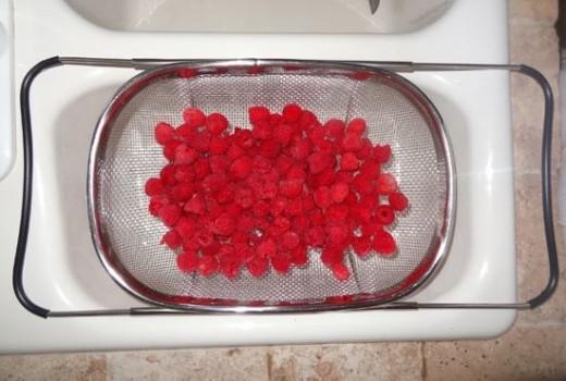 Clean, Rinse and Drain Fresh Raspberries