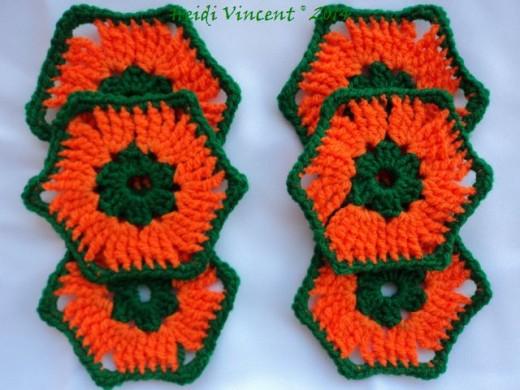 Tile Hexagon Coasters by Crocheting School - Heidi Vincent (FreshStart7)