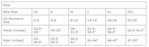 Nike Tempo Sizing Chart