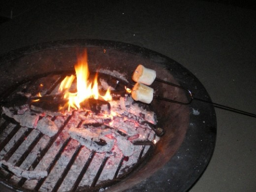 Perfect roasted marshmallows in the making