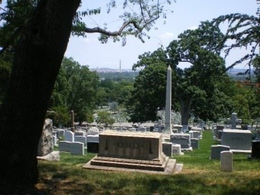 Washington Monument in the Background and as a Gravemarker