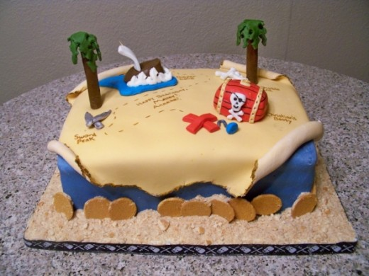 Pirate Map Cake Idea from: http://cakecentral.com/gallery/1611396
