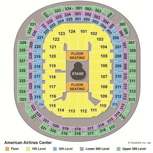 Seating at the American Airlines Center in Dallas Texas