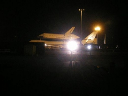 The Shuttle rode piggy-back on a 747 from CA to FL and stopped overnight in Fort Worth