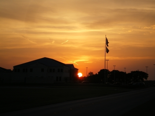 Fort Worth sunset on military base