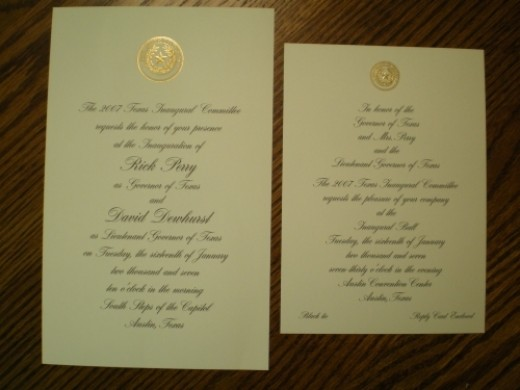 Our invitations to the Inauguration and to the Governor's Ball.