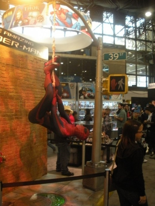 A photo opportunity with an upside-down Spider-Man, courtesy of Hasbro!
