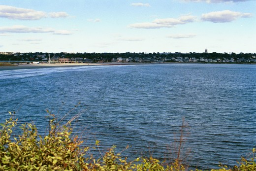 An ocean view while walking a trail through an affluent Rhode Island neighborhood.