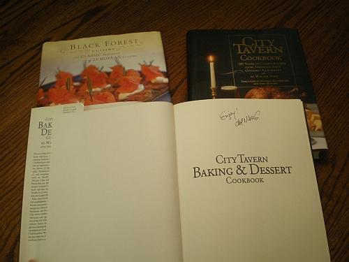 "Dessert cookbook autographed with ""Enjoy!"""