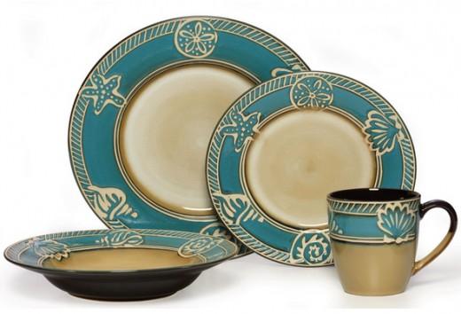 Seashell Dinnerware Teal Beige