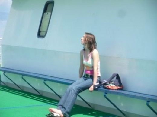 Chilling out on a boat deck
