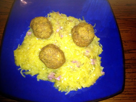 Serve the spaghetti squash on a plate, topped with as many Pumpkin Turkey Meatballs as your heart desires!
