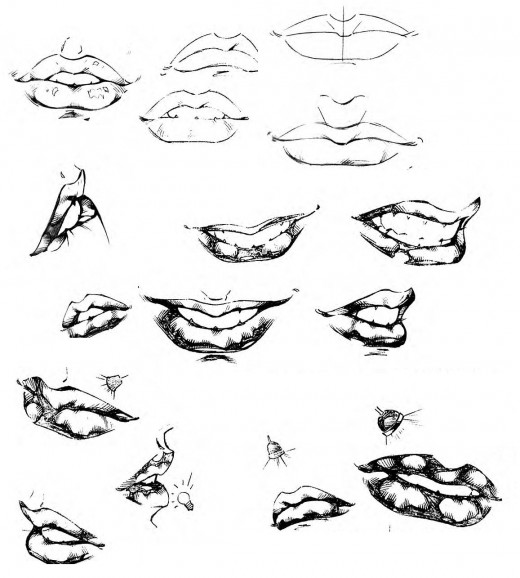 how to draw man lip