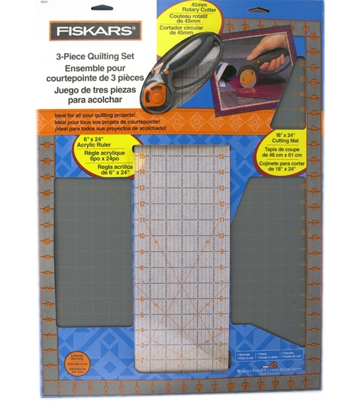 you can often buy a rotary cutter, ruler and mat in a set