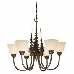 Burnished Bronze Rustic / Country Six Light Chandelier with Pine Trees and Moose