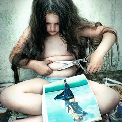 A depiction of the effects the fashion industry has on someones body image, especially children . Mainly young girls.