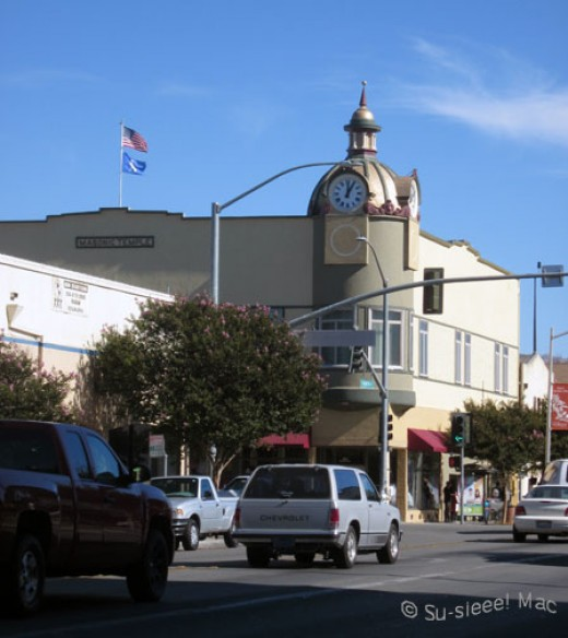 The iconic Masonic Lodge Clock Tower stands at the corner of 4th and San Benito Streets.