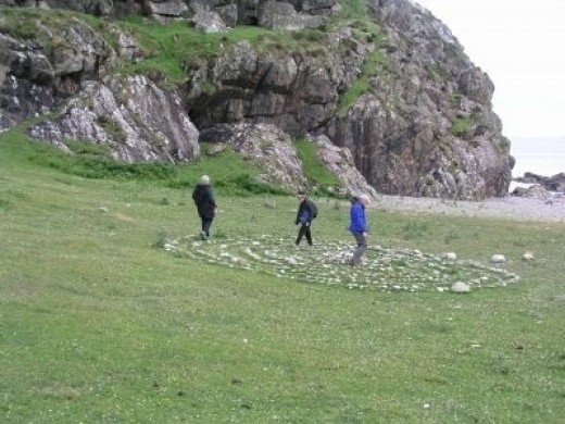 Walking the Labyrinth on St. Columba Bay, Iona