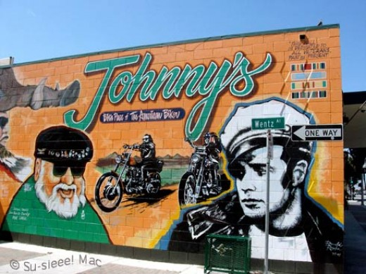 Originally painted in 1996, this mural was repainted in 2007 by artist (and biker) Ronald Rocha from San Antonio.
