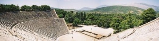 Panoramic view of the Greek theatre at Epidaurus. When You Sit on Top Row, You Can Hear People Talk, Normally,  on the Stage.