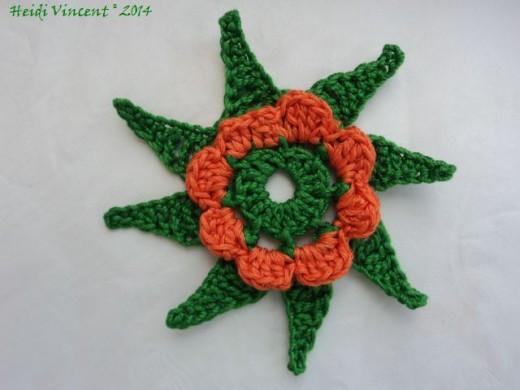 Star Flower Motif with Corolla Crochet Pattern