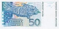 The old town of Dubrovnik and the Rector's Palace on the 50 Kn banknote
