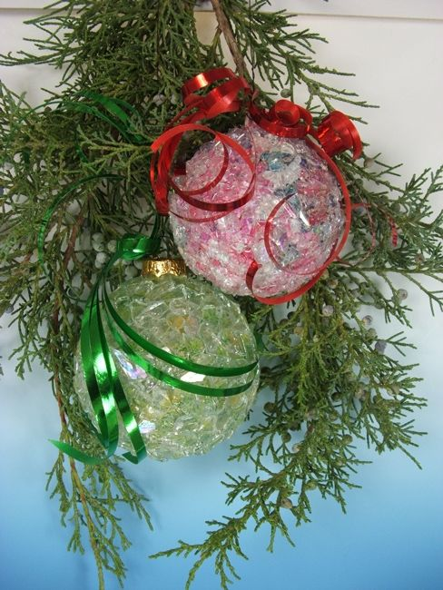 Glass Christmas Ornaments Crafted with Stained Glass Cobbles