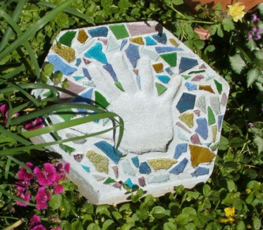 Handmade Personalized Stepping Stone using Stained Glass Cobbles