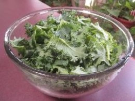 Chopped kale for our salad