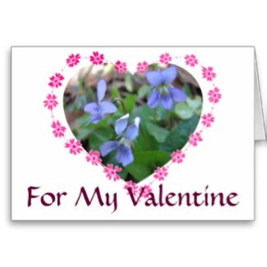 Blue violets and hearts