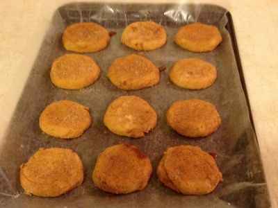 Pumpkin Snickerdoodle Cookies just out of the oven