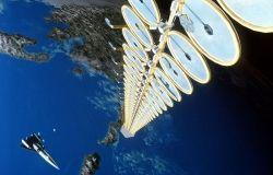 Artist depiction of solar satellite in space