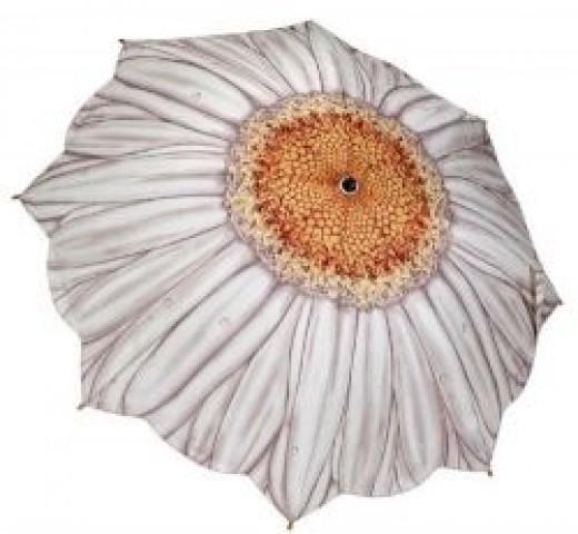Galleria White Daisy Folding Umbrella