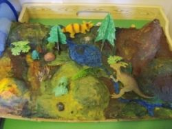 paper mache project dinosaur land