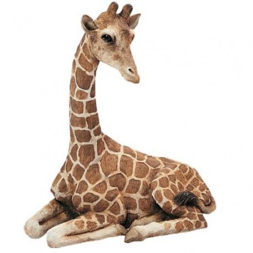Sandicast Original Size Giraffe Sculpture, Lying